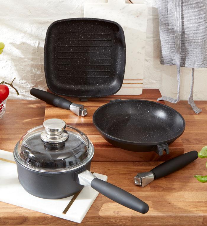 Grillpan, frying pan and saucepot